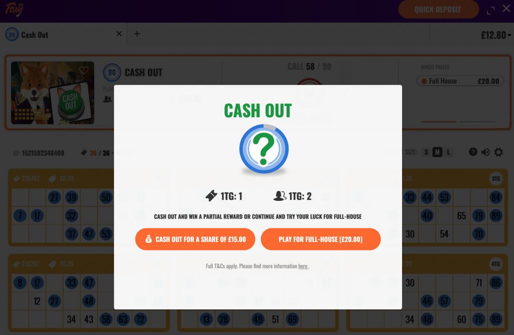 bingo Cash out message